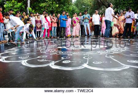 KOLKATA, INDIA - JUNE 25: International Society for Krishna Consciousness (ISKCON) celebrate 46th Jagannath Rath Yatra, on June 25, 2017 in Kolkata - Stock Photo