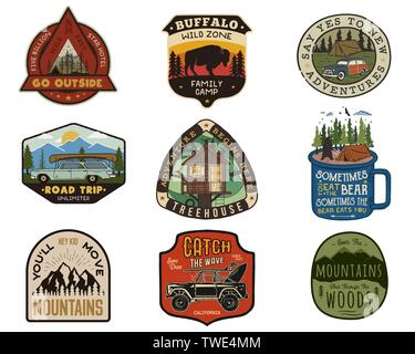 Vintage travel logos patches set. Hand drawn camping labels designs. Mountain expedition, road trip, surfing. Outdoor hike emblems. Hiking logotypes - Stock Photo