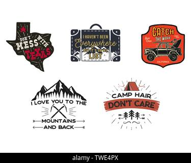 Vintage travel logos patches set. Hand drawn camping labels designs. Texas, backpacking, surfing. Outdoor hike emblems. Hiking logotypes collection - Stock Photo