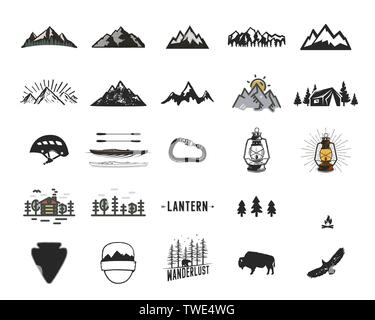 Vintage camping icons and adventure symbols illustrations set. Hiking shapes of mountains, trees, wild animals and others. Retro monochrome design - Stock Photo