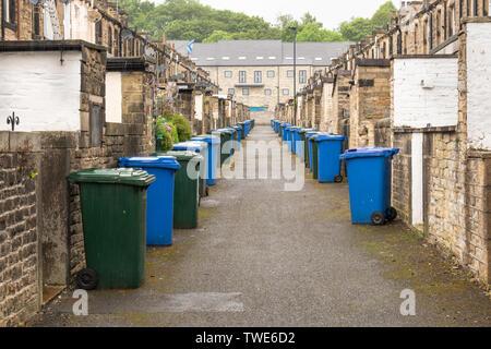 Wheelie bins in a row outside houses - Stock Photo