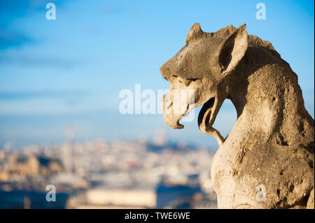 Beasts on the eaves of Notre Dame, France. - Stock Photo