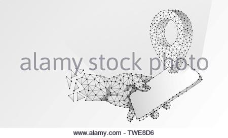 Phone in a hand, GPS location Pin. Business travelling, navigation technology, smartphone map concept. Abstract, digital wireframe low poly mesh - Stock Photo