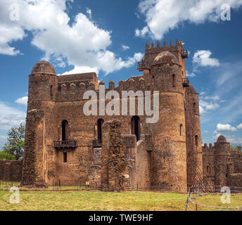 Fasil Ghebbi, Royal fortress-city within Gondar, Ethiopia. Founded in 17th century by Emperor Fasilides. Imperial palace castle complex is also called - Stock Photo