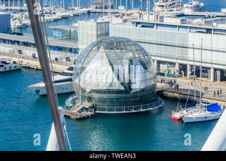 GENOA, ITALY - MARCH 9, 2019: The Aquarium of Genoa and the Biosphere view from above, Italy - Stock Photo
