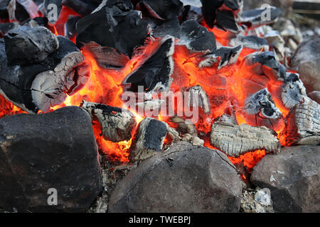 Smoldering embers in a fire, burning wood, campfire for background - Stock Photo