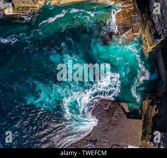 Taken above the cliffs on the Orkney islands in northeast Scotland.  Yesnaby is an area in Sandwick, on the west coast of Orkney Mainland, Scotland. - Stock Photo