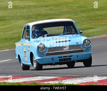 Mark Sumpter, Ford Lotus Cortina, Masters pre-66 touring cars, Masters Historic Festival, Brands Hatch, May 2019. Brands Hatch, classic cars, classic - Stock Photo