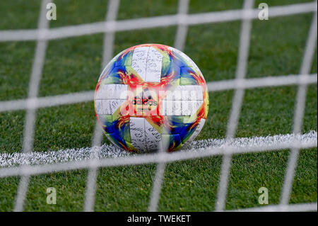 Bologna, Italy. 19th June, 2019. Offical Ball of Euro Under 21 Championship during the 2019 UEFA EURO U-21 Championship match between Italy U-21 and Poland U-21 at Stadio Renato Dall'Ara, Bologna, Italy on 19 June 2019. Photo by Giuseppe Maffia. Credit: UK Sports Pics Ltd/Alamy Live News - Stock Photo