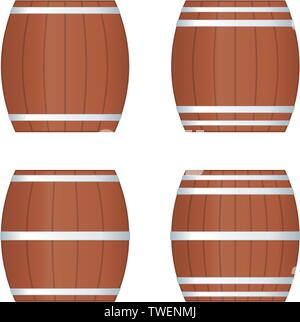 Vector illustration. Four barrel icons in clean style. Wine culture. - Stock Photo