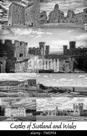 Various photographs of Scottish and Welsh castles on a poster  in black and white - Stock Photo