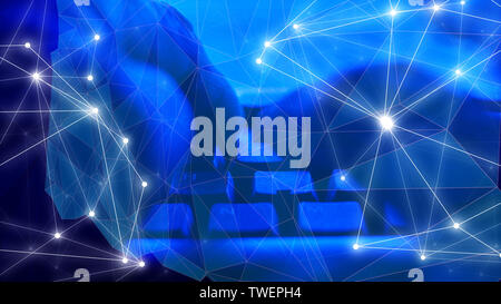 Computers software coding concept, dark blue sci fi backgrounds - Stock Photo