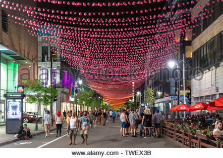 Montreal, Quebec, Canada-June 11, 2017 NEW: The Gay Village at night. The famous place located in the downtown district is a famous landmark - Stock Photo