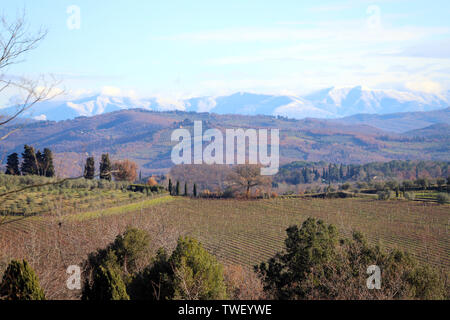 Landscape of Tuscany in autumn: hills, farmhouses, olive trees, cypresses, vineyards. The hills of Chianti south of Florence - Stock Photo