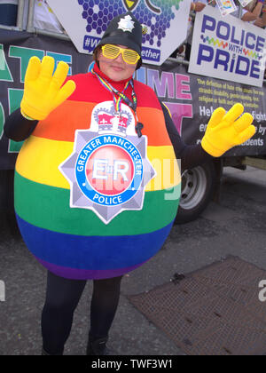 A police officer in rainbow uniform at Manchester, uk, LGBT Pride Parade 2018 - Stock Photo