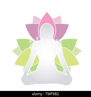 silhouette of girl sitting in lotus pose yoga meditation