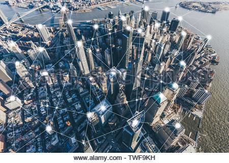 Blockchain Concept and City Network of Manhattan - Stock Photo