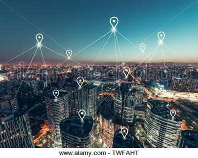 Aerial View of the Network of the Office Building - Stock Photo