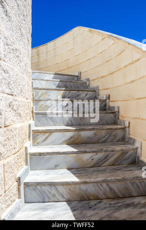 Sunlit Parque de la Bateria observation tower staircase at Torremolinos, Province of Malaga, Andalusia, Spain - Stock Photo