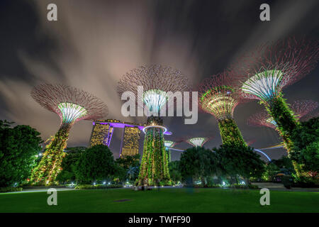 Clouds whisp over the dramatic supertrees of Singapore with the iconic Marina Bay Sands in the background.