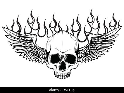 Winged skull grim reaper drawing in a vintage retro woodcut etched or engraved style vector - Stock Photo
