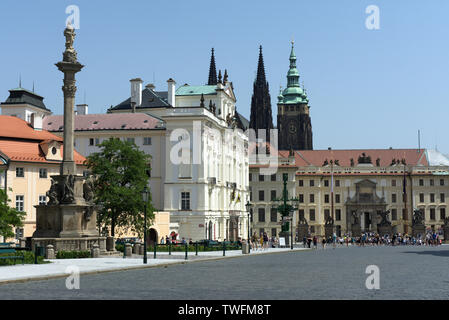 View on Hradcany Square and first courtyard and Matthias Gate of Prague Castle, Czech Republic - Stock Photo