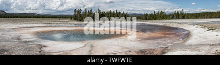 Panorama of Opal Pool, near Grand Prismatic Spring, in the Midway Geyser Basin,