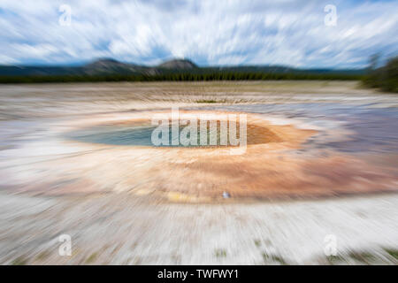 zoomed image of Opal Pool, near Grand Prismatic Spring, in the Midway Geyser Basin,