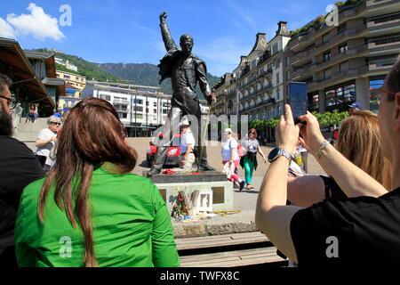 Statue of Freddie Mercury, singer of the group Queen, in Montreux which is a Swiss commune of the canton of Vaud - Stock Photo
