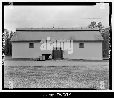 Planar view of front (east) side, view towards westside west without scale - Fort McClellan Ammunition Storage Area, Building No. 4404, Second Avenue (Magazine Road), Anniston, Calhoun County, AL - Stock Photo