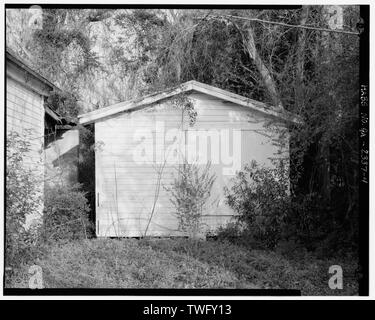 Planar view of front of tool shed, facing northwest. - Dorch Store, North side of Branch Road, east of Roe Street, Stockton, Lanier County, GA - Stock Photo