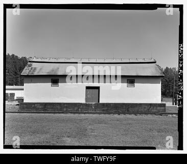 Planar view of rear (west) side, view towards the east northeast without scale - Fort McClellan Ammunition Storage Area, Building No. 4403, Second Avenue (Magazine Road), Anniston, Calhoun County, AL - Stock Photo