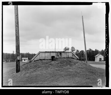 Planar view of rear(east) side, view towards the westside west with scale - Fort McClellan Ammunition Storage Area, Building No. 4414, Second Avenue (Magazine Road), Anniston, Calhoun County, AL - Stock Photo