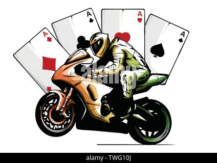 Motorcyclist on a motorcycle vector illustration design - Stock Photo