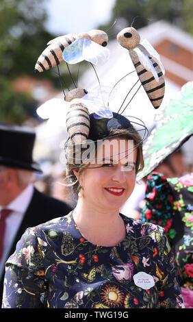 Ascot Racecourse, Berkshire, UK. 20th June, 2019. Royal Ascot Horse Racing; Another fabulous hat Credit: Action Plus Sports/Alamy Live News - Stock Photo