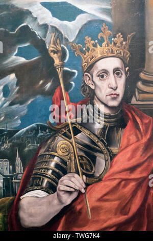 St Louis, King of France,  by a follower of El Greco, exhibited in the El Greco museum, Toledo, Toledo Province, Castilla-La Mancha Spain.  The origin - Stock Photo