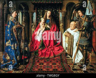 Jan van Eyck, TheMadonna with Canon Joris van der Paele, painting, 1436 - Stock Photo