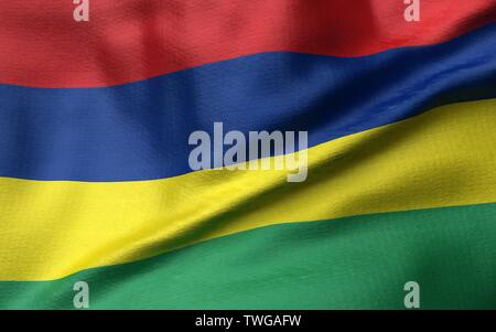 3D Render of Mauritius Flag - Stock Photo
