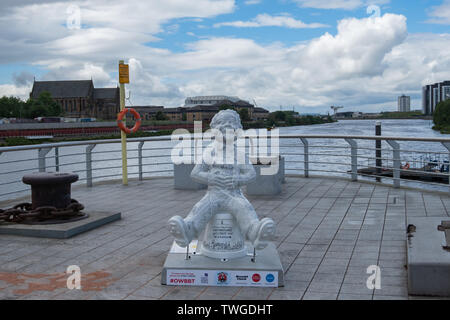 Glasgow, Scotland, UK. 20th June, 2019. A reasonably Accurate Map of Glasgow, created by Adrian McMurchie. This scupture adorns Oor Wullie in an illustrated map of Glasgow including some of the city's most famous buildings and quirky text to accompany them.  The sculpture is part of Oor Wullie's BIG Bucket Trail. Credit: Skully/Alamy Live News - Stock Photo