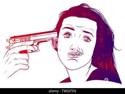 Suicide girl by handgun icon. Vector illustration - Stock Photo