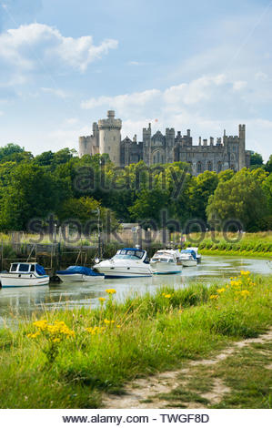 Arundel Castle from the river Arun, South Downs National Park - Stock Photo