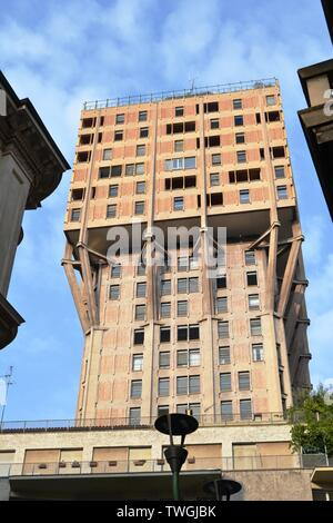 View to the Velasca Tower, one of Milan city downtown old skyscrapers, in a sunny day. - Stock Photo