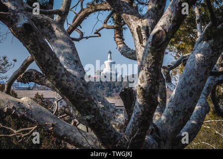 White Dagoba on Jade Flower Island in Beihai Park seen from hill in Jingshan Park in Beijing, China - Stock Photo