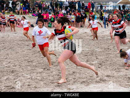 Beach rugby tournament  on 8 June 2019 at Port Ellen on Islay in inner Hebrides in Scotland, UK - Stock Photo