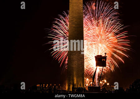The sky is lit up during the finale of the fireworks show on the mall in Washington D.C. on the fourth of July 2017 - Stock Photo