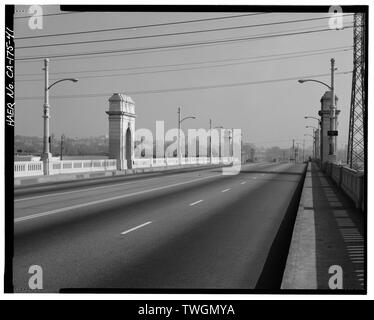 ROAD BED OVER-ALL VIEW, FACING NORTHEAST. - First Street Bridge, Spanning Los Angeles River at First Street, Los Angeles, Los Angeles County, CA - Stock Photo