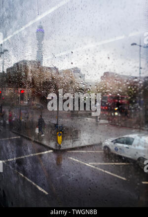 rainy view of euston road and the post office  BT tower. - Stock Photo