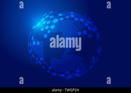 Concept of point line connection, molecular structure and world map composition sphere, molecular metaphor, science and technology - Stock Photo