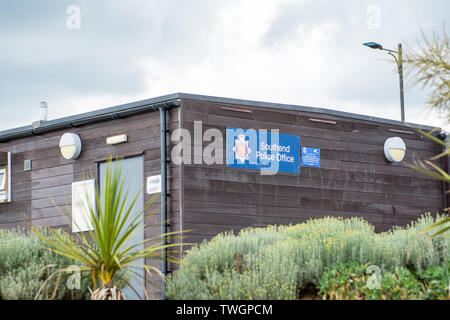 southend on sea, UK, 2019-05-28. ,Wooden structured  Local constabulary office on the promenade of Southend o sea - Stock Photo