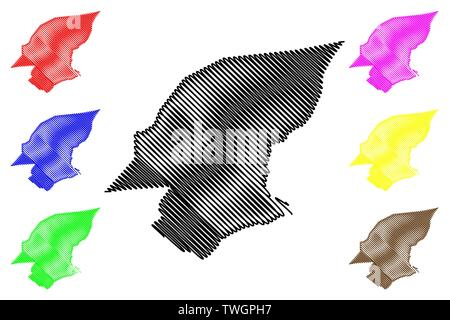 Hadhramaut Governorate (Governorates of Yemen, Republic of Yemen) map vector illustration, scribble sketch Hadramawt map - Stock Photo